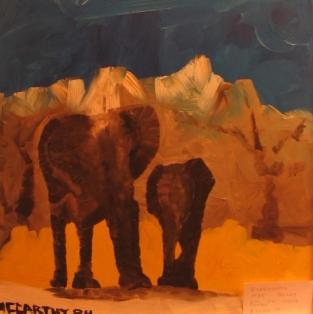 1984-32x24-Oil on Wood Panel-Elephants