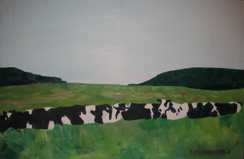 1987-32x48-Oil on wood Panel-Vermont Cows