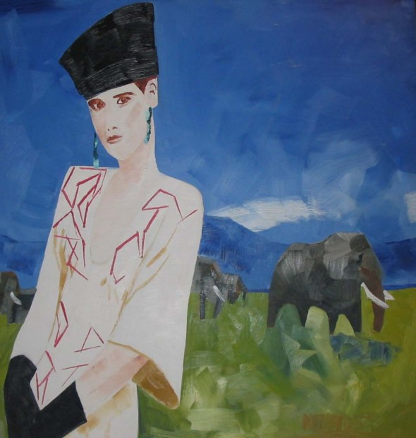 1987-48x46-Oil on Wood Panel-African Princes